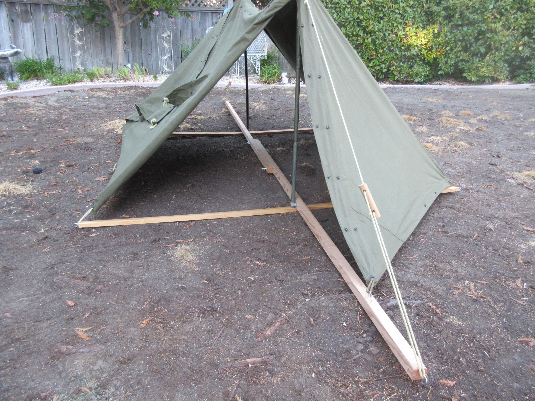 Shelter Half tent on wood frame for displays