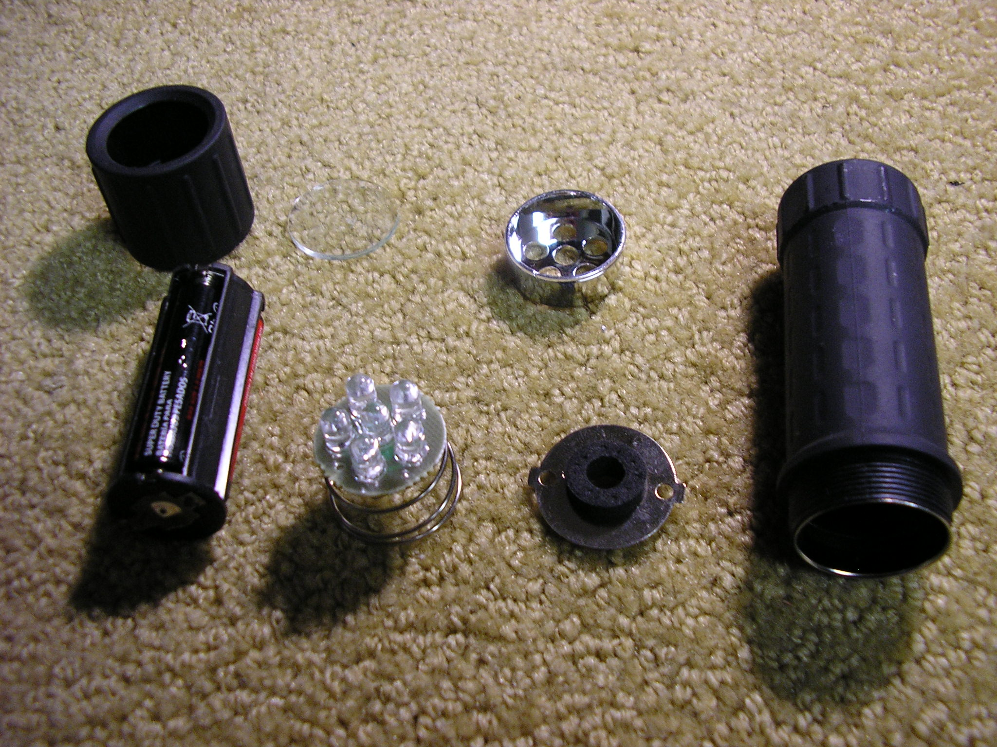 Six LED flashlight parts