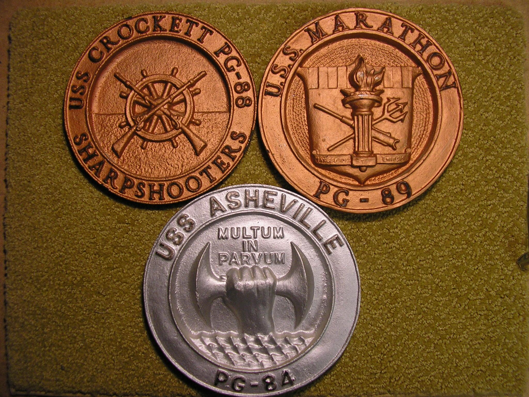 USS Asheville, USS Crockett, USS Marathon Plaques