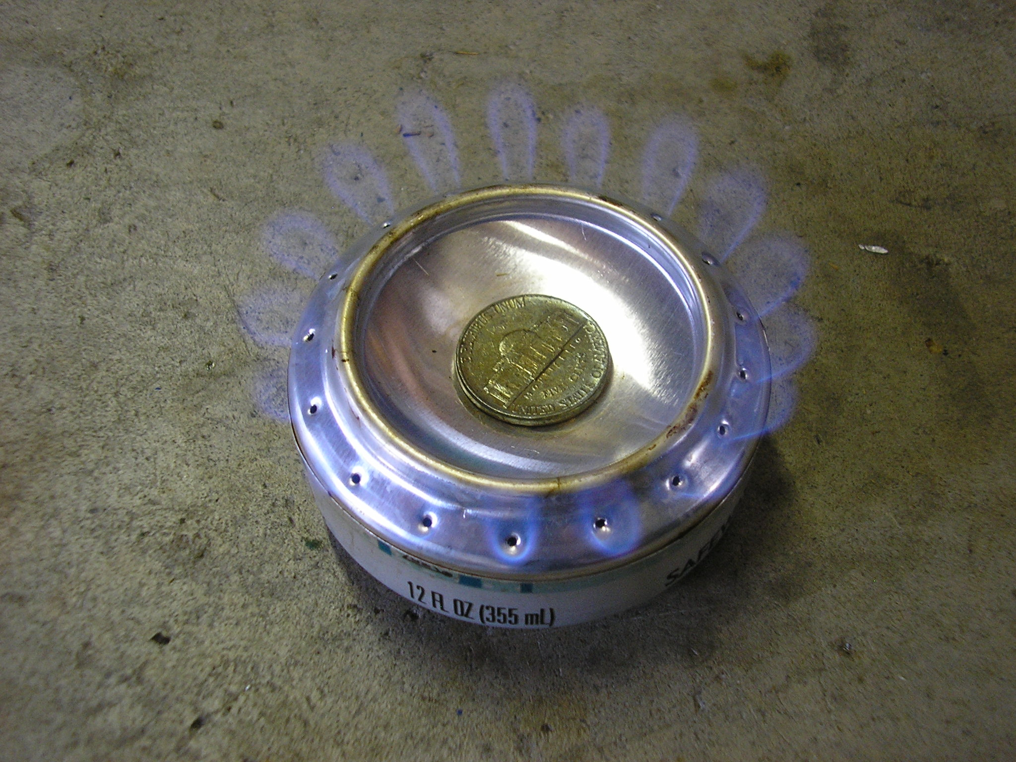 Alcohol Stove in operation