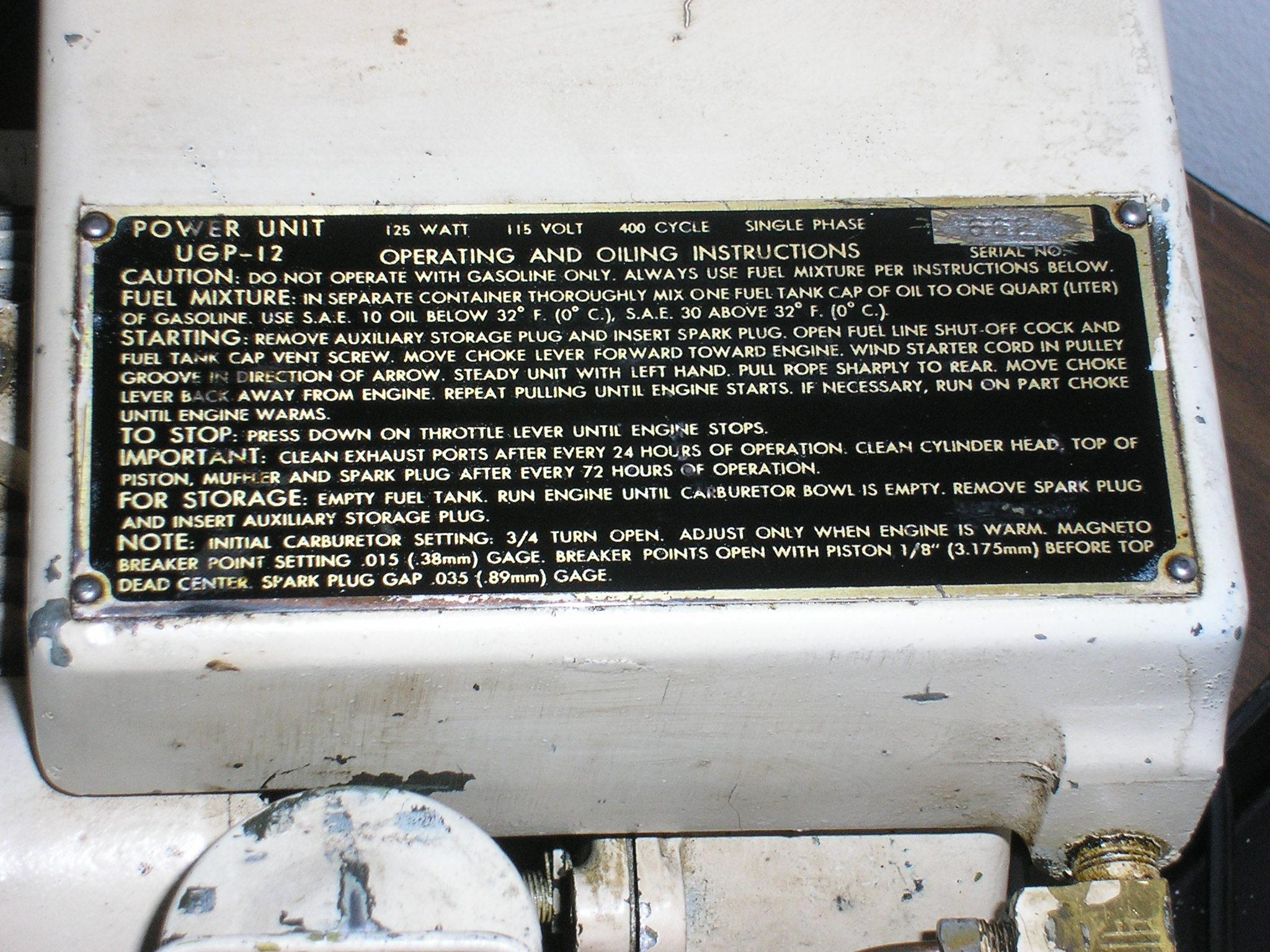 UGP-12 Data Plate