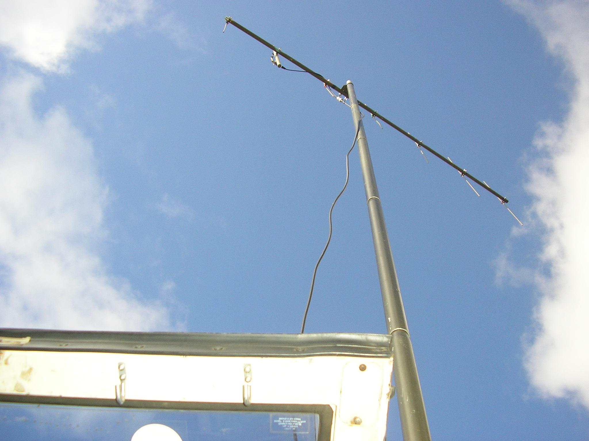 Portable VHF Yagi mounted above vehicle